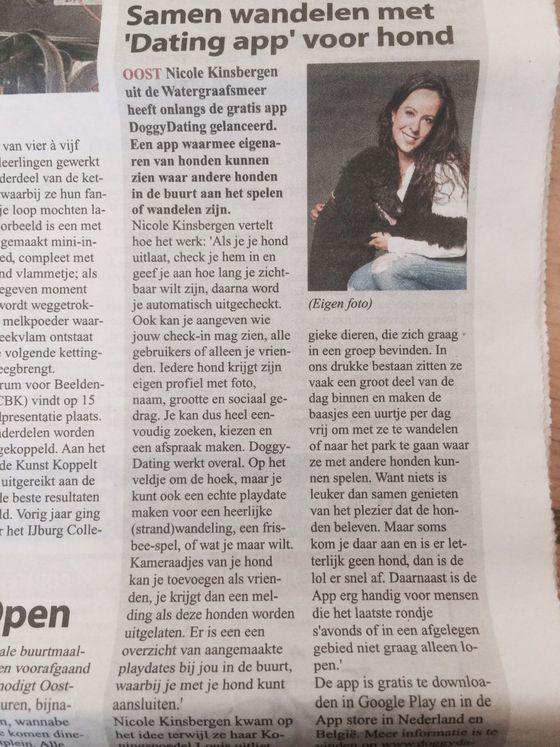 Dating app voor de hond ,Nicole Kinsbergen, Stadsblad De Echo, Doggy Dating