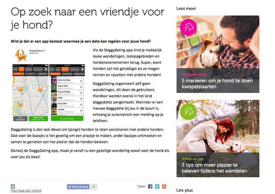 Leuk artikel over DoggyDating app in beestigebaasjes.be