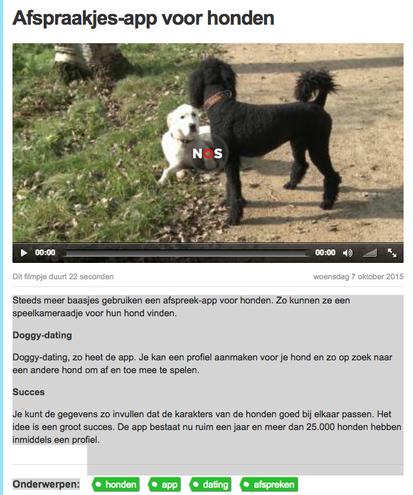 DoggyDating in het NOS Jeugdjournaal met bedenkster Nicole Kinsbergen en bedrijfspoedel Louis