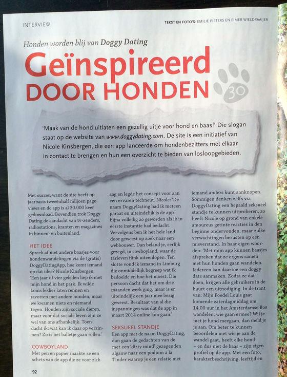 Geiïnspireerd door honden. Interview met Nicole Kinsbergen over DoggyDating app website en losloopgebieden in Onze Hond magazine.