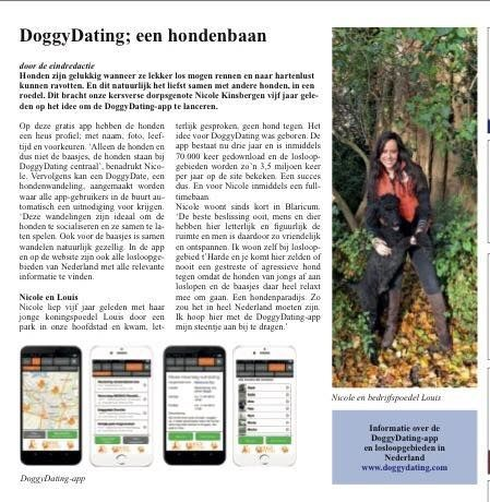Interview met Nicole Kinsbergen in het Blaricumse dorpsblad Hei en Wei over DoggyDating