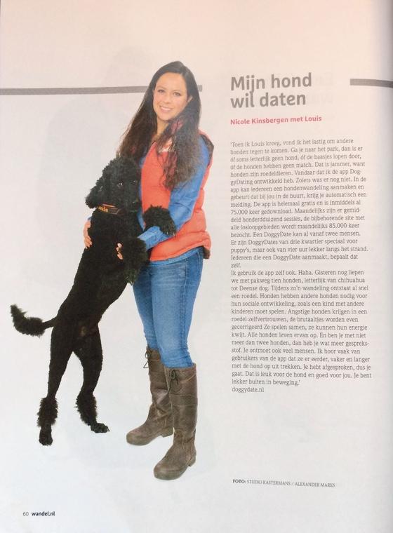 In de 4e editie van het magazine van de Koninklijke Wandel Bond Nederland staat een leuk artikel over de DoggyDating app en de bedenker Nicole Kinsbergen. Uiteraard met inspratiebron en bedrijfspoedel Louis op de foto.