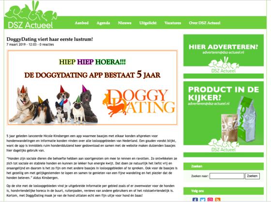 DSZ actueel schreef oom mooi articel ter gelegenheid van het eerste lustrum van DoggyDating.