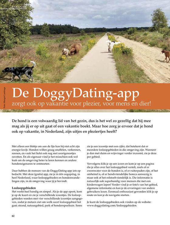 DoggyDating app zorgt ook op vakantie voor plezier, voor mens en dier!Onze Hond magazine nr4 2019